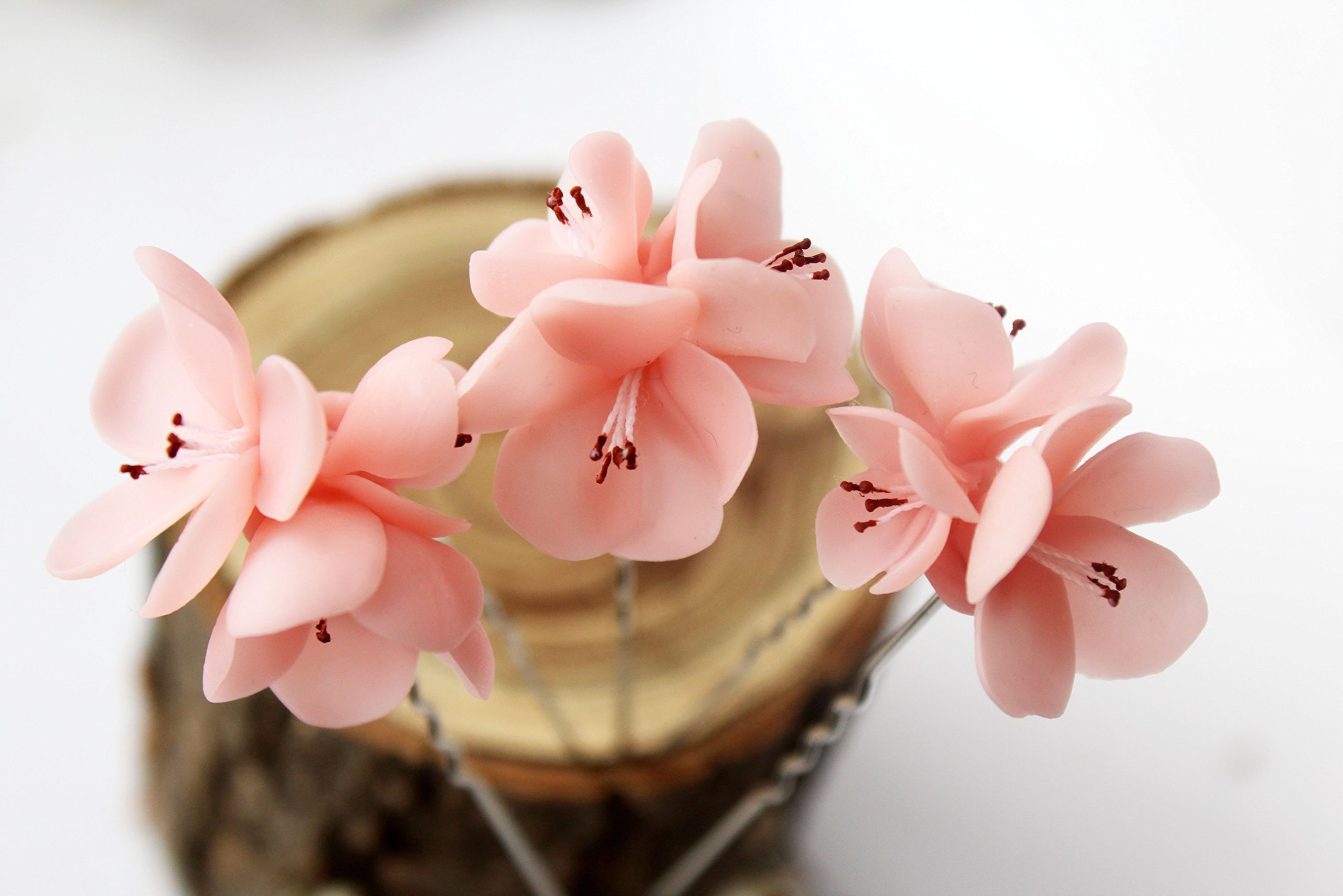 Cherry blossom bridal hair pin, Set of 3, Bridal pink Hair Pins, Flower hair pin, Rustic wedding, Bridal Hair Pins, sakura, cherry wedding