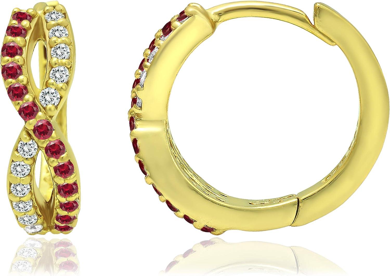 Sterling Silver Created or Simulated Gemstone & White CZ Infinity Twist Braid Huggie Hoop Earrings for Women Girls, 15mm Diameter