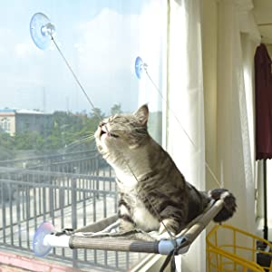 Cat Window Perch, Cat Hammock Window Seat, Space Saving and Safety Window Mounted Cat Bed for Large Cats
