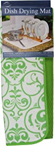 Envision Home 436100 Microfiber Dish Drying Mat, 16 by 18-Inch, Lime Damask