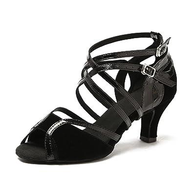 88c02359b Minishion Women's Low Heel Comfort Black Performance Salsa Tango Ballroom  Latin Dance Sandals 5 ...