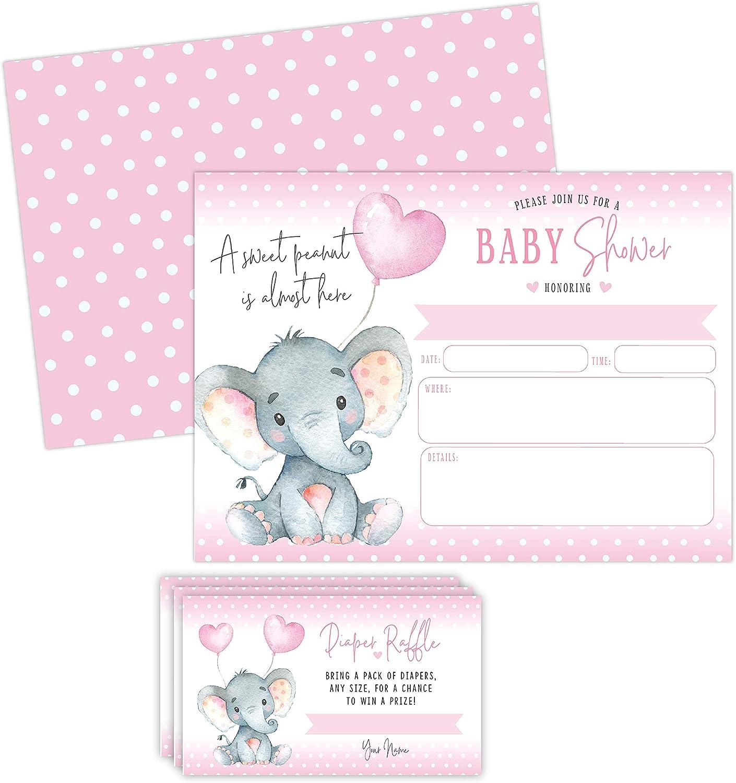 Late Night Diapers Baby Shower Game Elephant Girl Nursery Decor Animal Wall Art Prints Set Animal Print Little Girls Games Cards Elephants