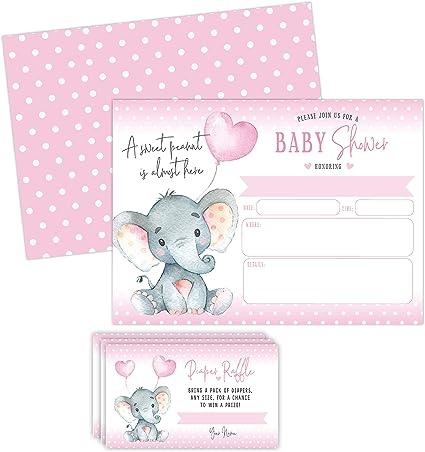 Invitaciones Para Baby Shower Con Diseño De Elefante Con Tarjetas De Rifa De Pañales 20 Invitaciones Incluye Sobres Health Personal Care
