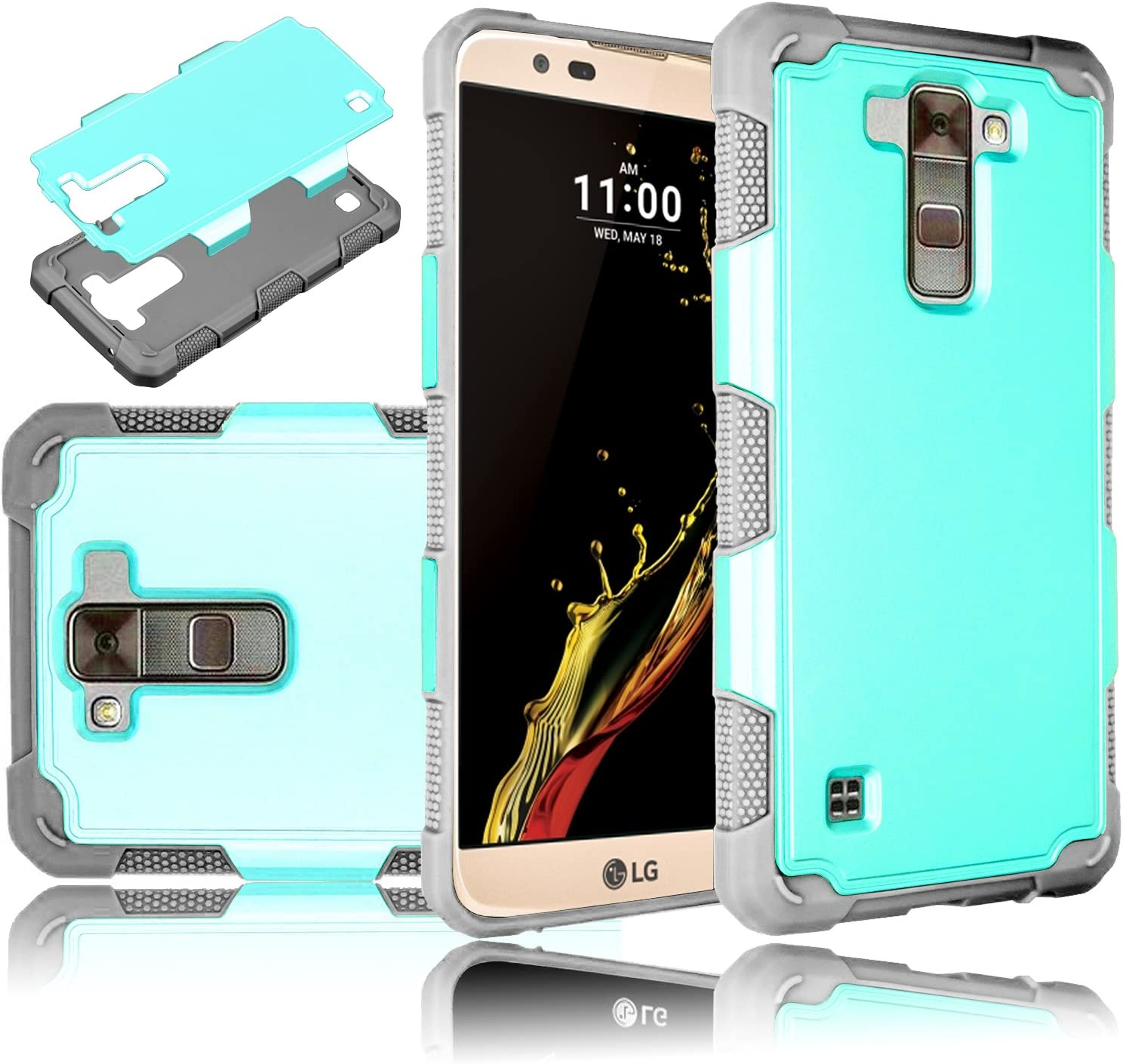 LG K10 Case, LG Premier LTE Case, Elegant Choise Ultra Thin Hybrid Shockproof Dual Layer Rugged Armor Hard Case Cover for LG K10/LG Premier LTE L62VL L61AL (2016)(Turquoise+Grey)