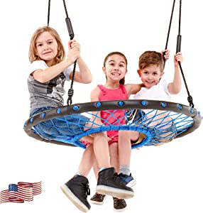 Smartsome Spider Web Tree Swing - 40 Inch Tire Swing for Hours of Outdoor Fun, Soft Handles On Rope Swing Patented Easy Assembly, Great Kids Swing for Trees Or Playsets.