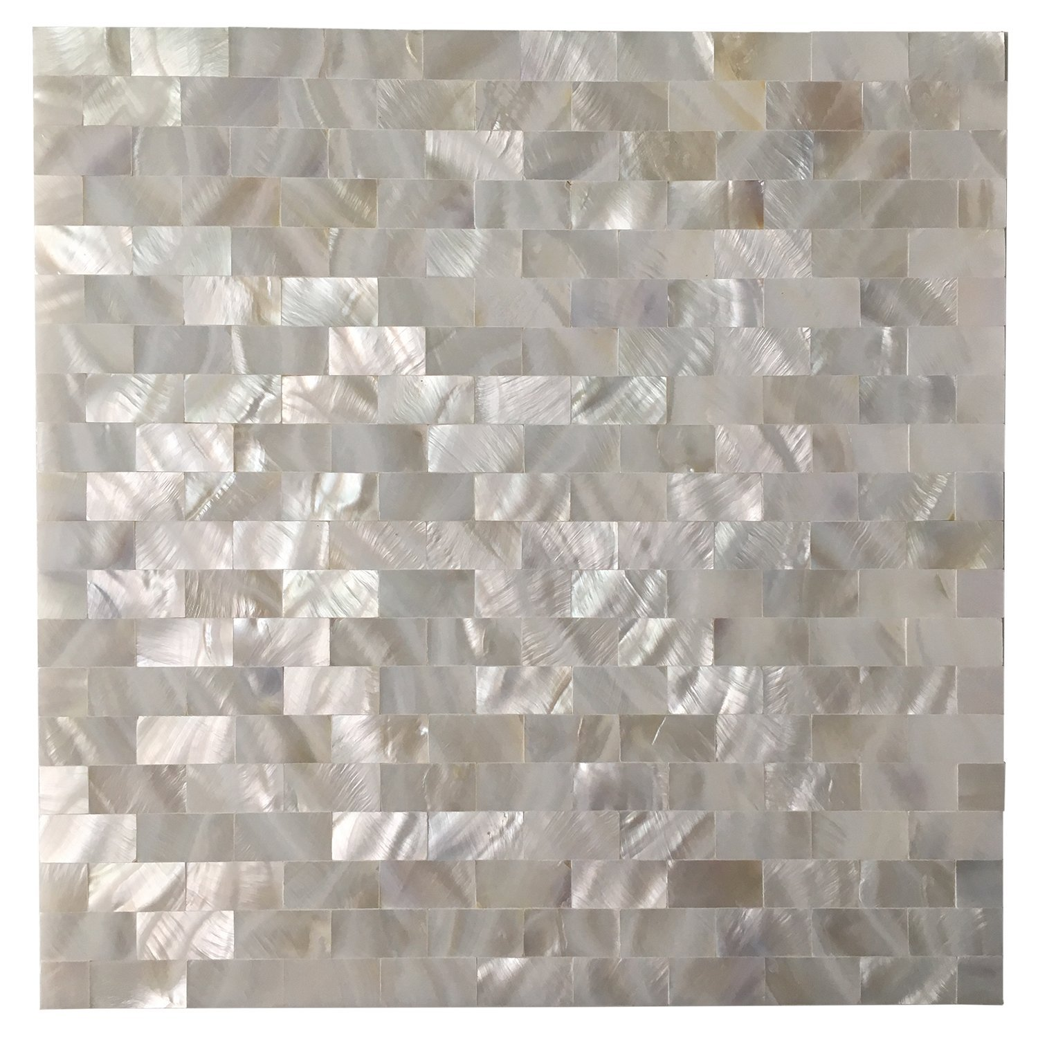 Art3d 6-Pack Mother of Pearl Shell Tile for Kitchen Backsplashes/Shower Wall, 12'' x 12'' White Subway