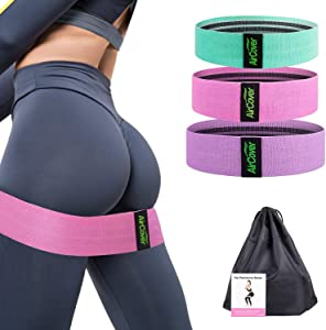 aircover Resistance Bands for Legs and Butt, Non-Slip Butty Bands, 3 Levels Workout Bands Women Sports Exercise Fitness Band with Portable Bag for Squat Glute Hip Training- 3 Pack