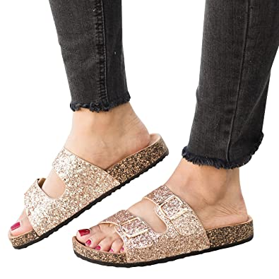 e5dfc8daa Syktkmx Womens Flat Slip on Double Strap Buckle Cork Glitter Platform  Slides Sandals