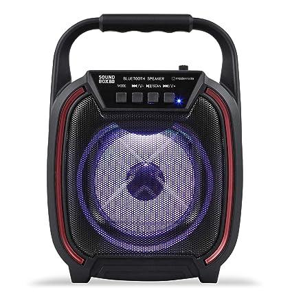 Modernista SoundBox 80 Wireless Portable BT Speaker with USB Pen Drive Slot, 3.5mm AUX Input, Micro SD Card Slot, Built in FM, BT5.0,Carry Handle, LED Lights (8 Watt)