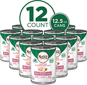 NUTRO Limited Ingredient Diet Adult Canned Soft Wet Dog Food Premium Loaf Turkey & Potato Recipe, (12) 12.5 oz. Cans