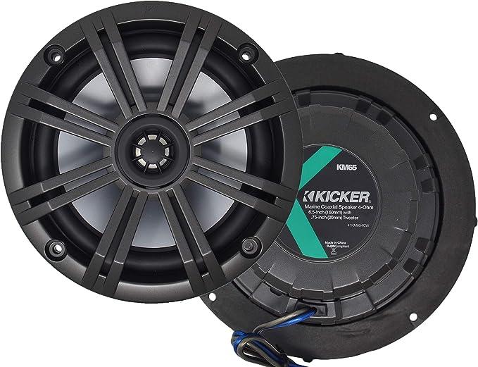 Kicker KM654CW 6.5 Inch 4-Ohm Charcoal//White Marine Coaxial Speakers Km654Cw