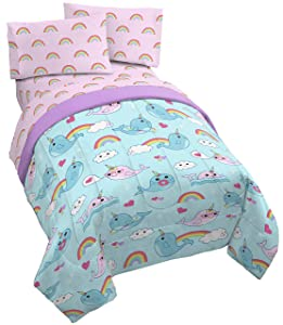 Jay Franco Believe in Narwhals 4 Piece Twin Bed Set - Includes Reversible Comforter & Sheet Set - Super Soft Fade Resistant Microfiber