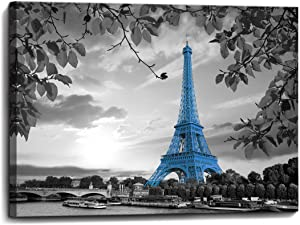 Blue Paris Eiffel Tower Bathroom Wall Art Wall Decor for Bedroom Prints Picture Modern Popular Framed Wall Decorations Canvas Art Work Easy to Hang Size 12x16