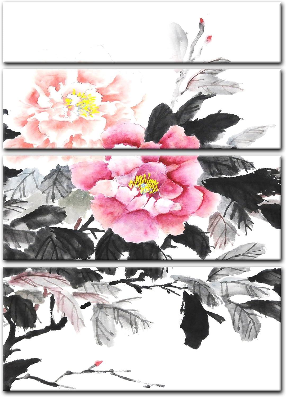 Bilderdepot24 Cuadros en Lienzo Acuarela Lámina Reproducción Flor China II 120 x 180 cm 4 Piezas - Listo tensa, Directamente Desde el Fabricante: Amazon.es: Hogar