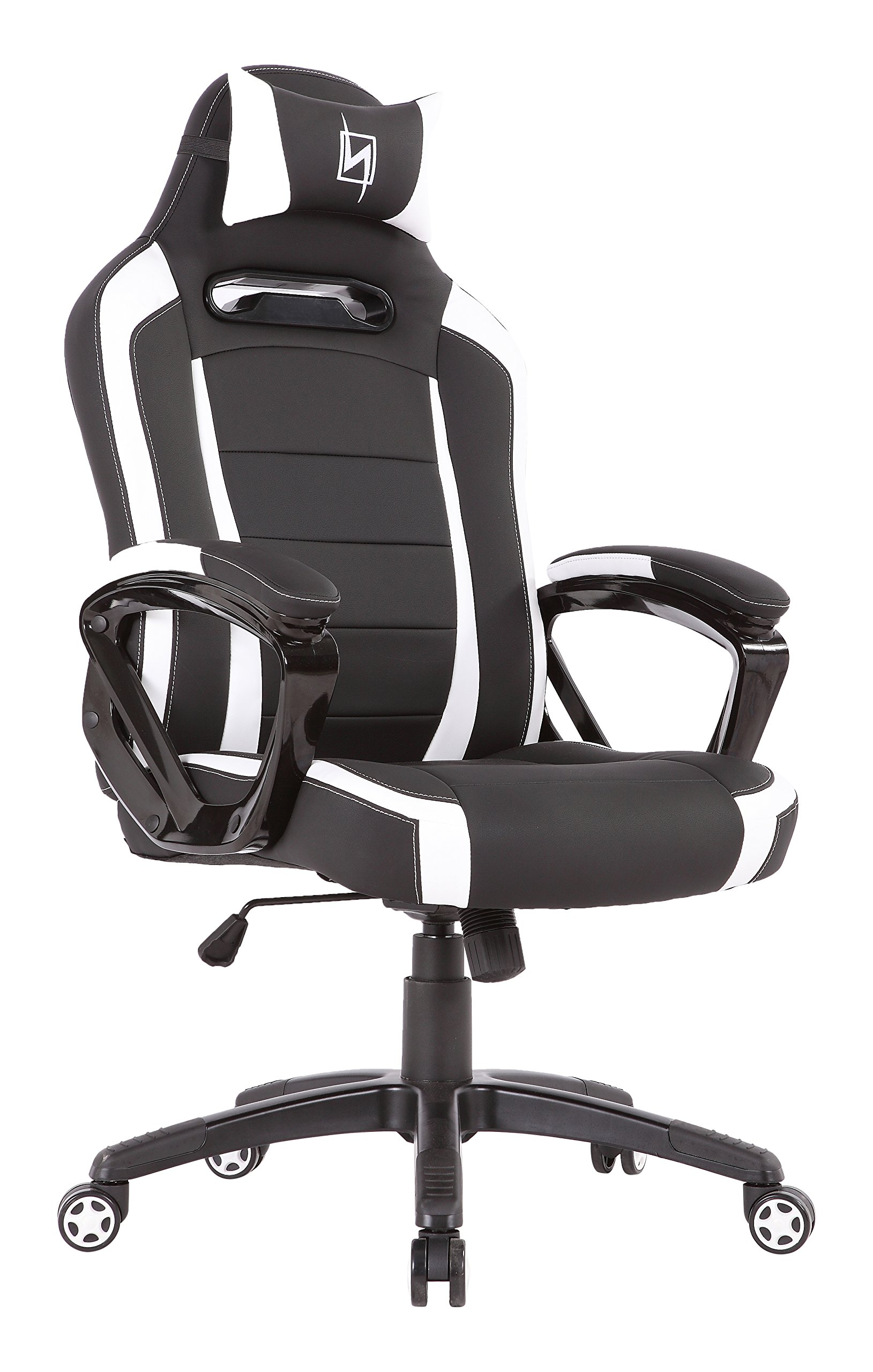 N Seat Pro 300 Series NS-PRO300_WT Office Gaming Ergonomic Computer Desk Executive Chair Furniture with Pillows, 360 Degree of Rotation, Black/White