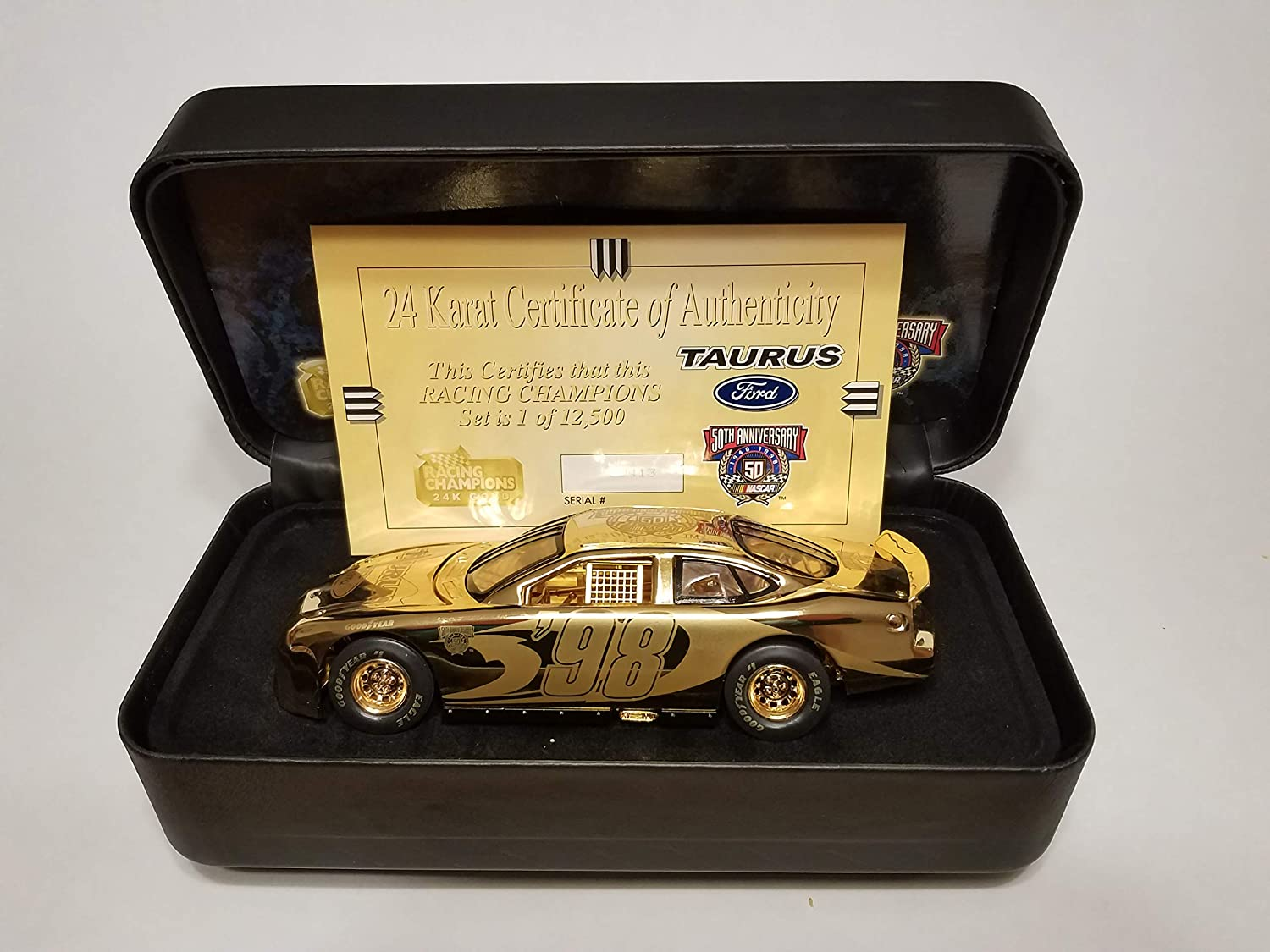 Racing Champions NASCAR 50th Anniversary 24 K Gold Ford Taurus 1:24 Scale