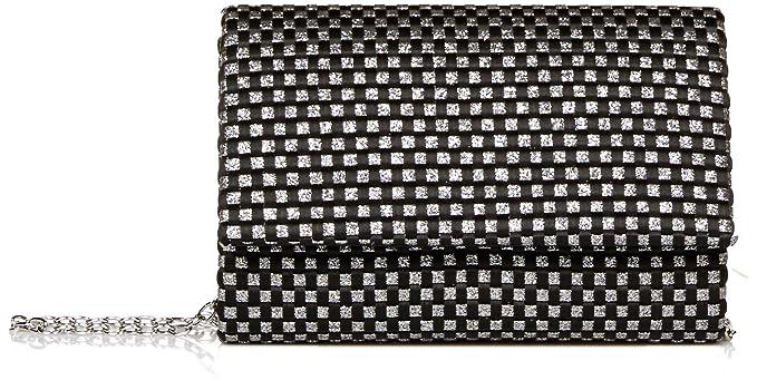 fe1b8814fb2 Jessica McClintock Katie Woven Satin Glitter Evening Clutch Shoulder Bag,  Black