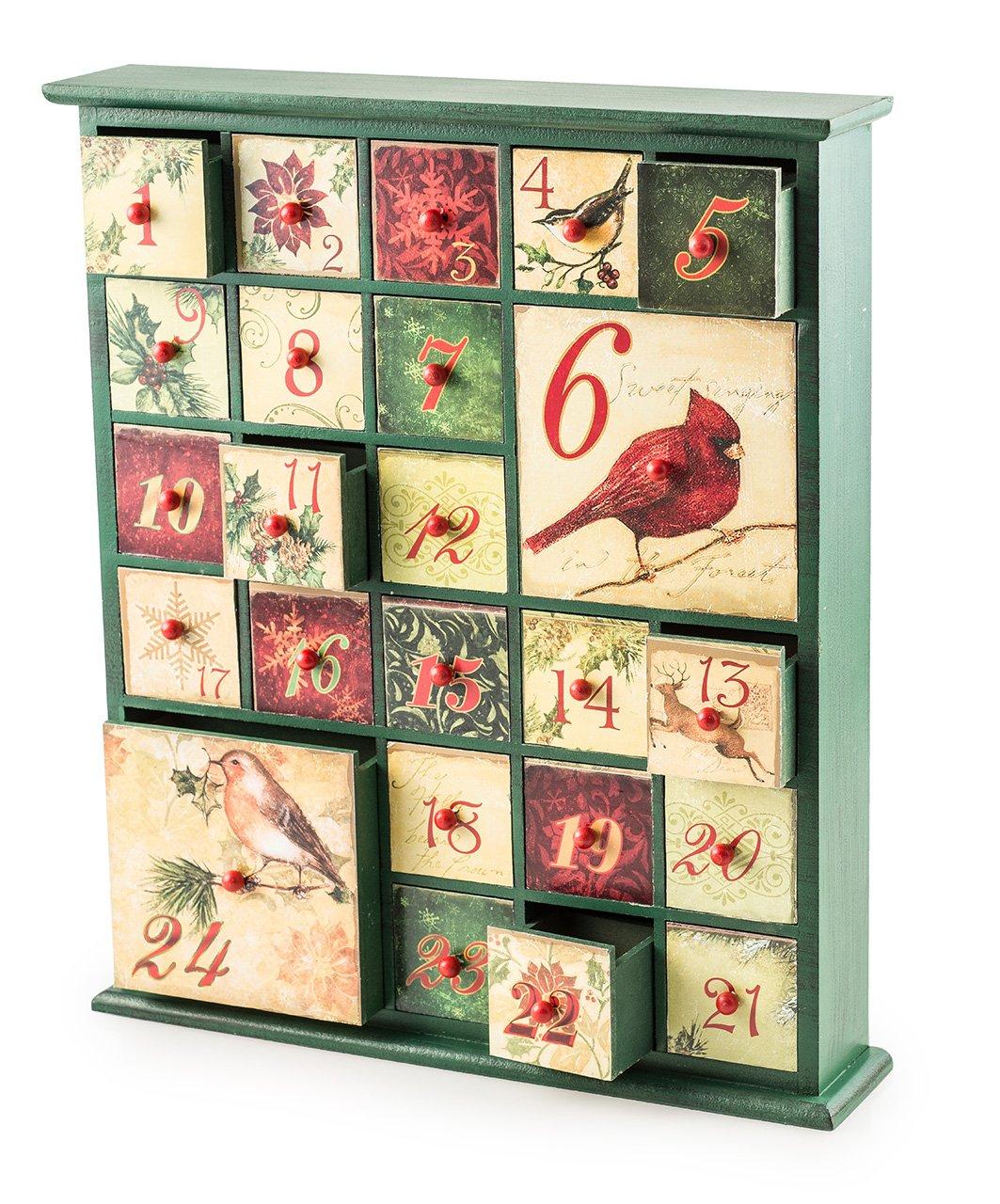 Pajoma 51566 Birds Calendrier de l'avent en Bois, Dimensions (L x l x H) : 36 x 7 x 42 cm