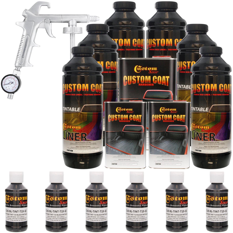 Custom Coat BLACK METALLIC 6 Liter Urethane Spray-On Truck Bed Liner Kit with (FREE) Custom Coat Spray Gun with Regulator by Custom Shop