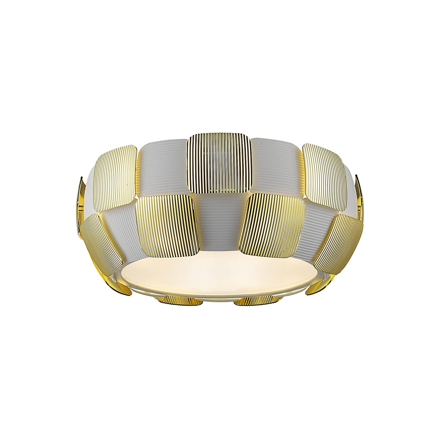 Access Lighting 50900LED-WH/GLD Layers LED 14-Inch Diameter Flush Mount with White Shade, Gold