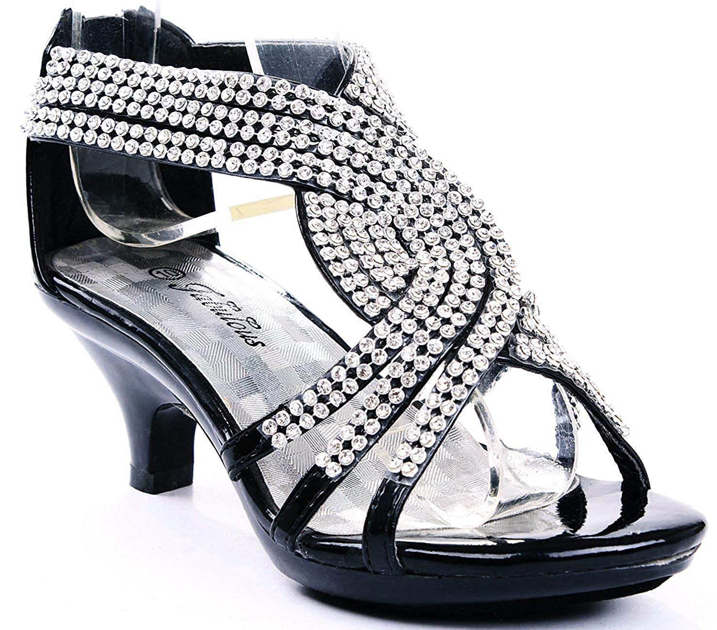 Girls Kitten Heel Dress Pumps w// Rhinestone Ankle Strap Black Size 9-4