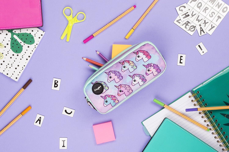 3 Compartments Trousse /à crayons avec 3/compartiments jolie et amusante Pour enfant Large Pugs /& Sweets FRINGOO