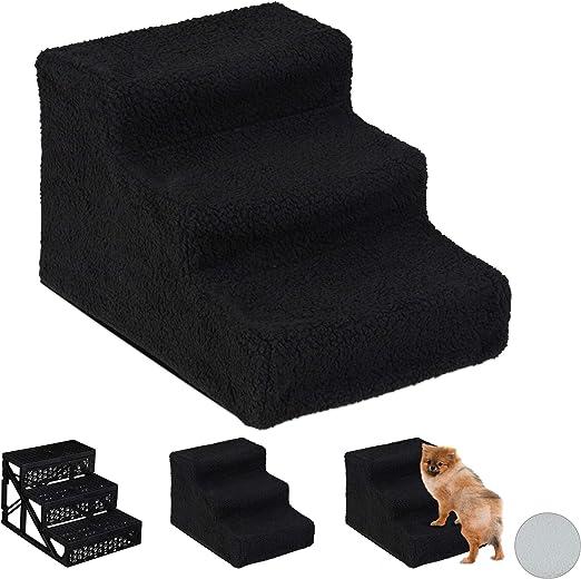 Relaxdays Escalera para Perro Pequeño o Grande, 3 Peldaños, Cama y Sofá, PP-Poliéster, 1 Ud, 30 x 35 x 45 cm, Negro: Amazon.es: Hogar