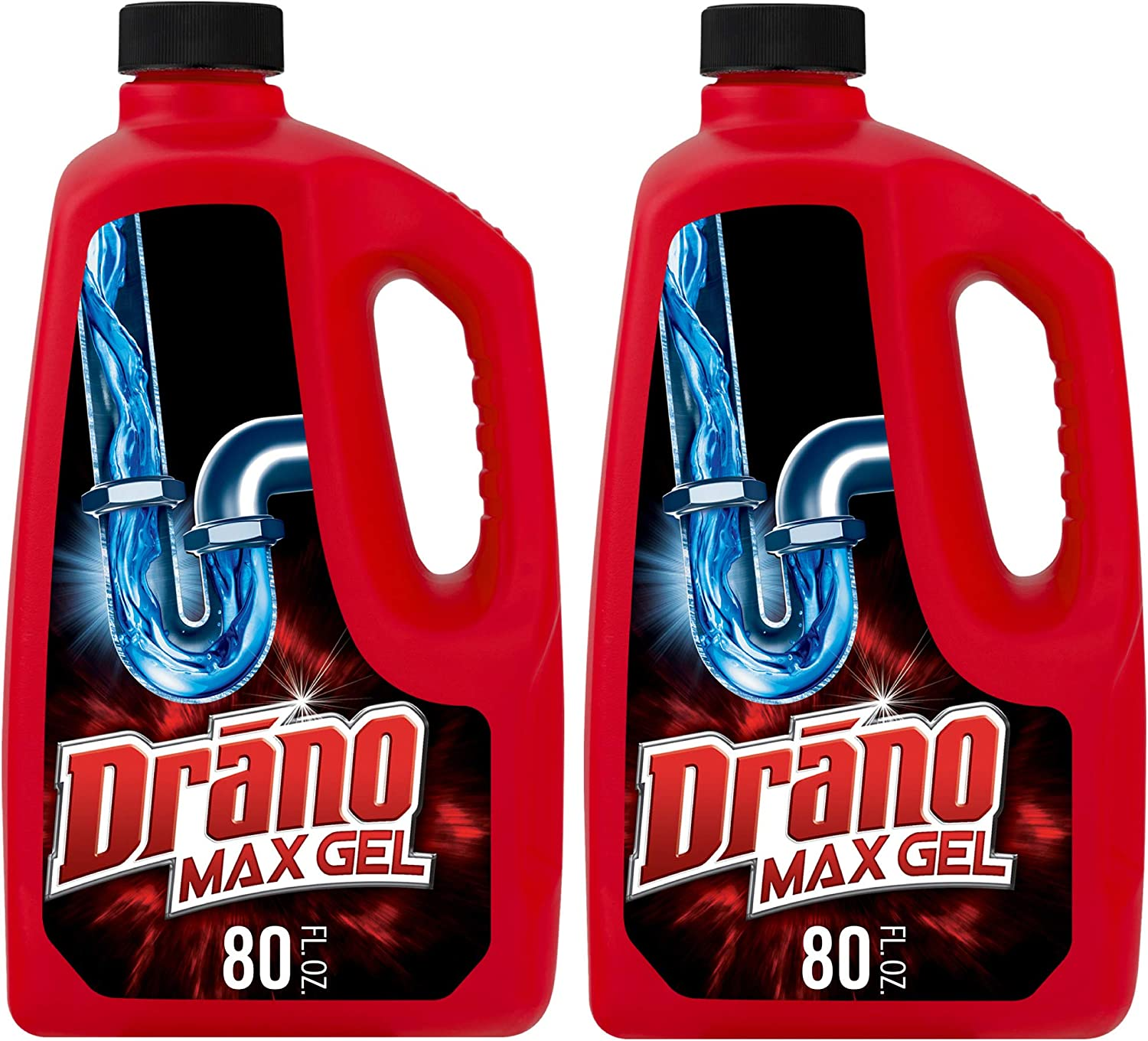Drano Max Gel Drain Clog Remover and Cleaner for Shower or Sink Drains, Unclogs and Removes Hair, Soap Scum, Blockages, 80 oz- Pack of 2: Health & Personal Care