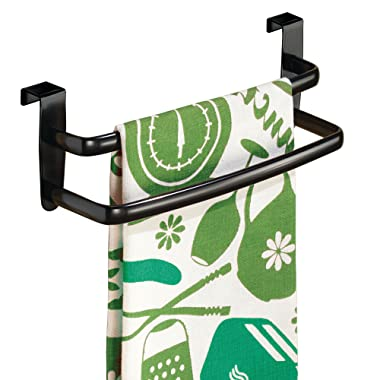 mDesign Modern Kitchen Over Cabinet Strong Steel Double Towel Bar Rack - Hang on Inside or Outside of Doors, Storage and Organization for Hand, Dish, Tea Towels - 9.75  Wide, Black Finish