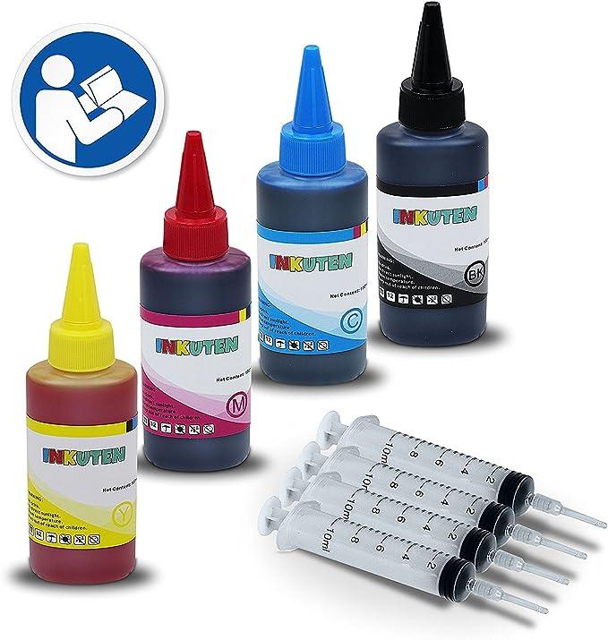 INKUTEN – Herramienta de recambio de tinta para HP 711 X L Cartuchos de tinta HP 711 y 4 Botellas de 120 ml dye kit de recarga de tinta – compatible con