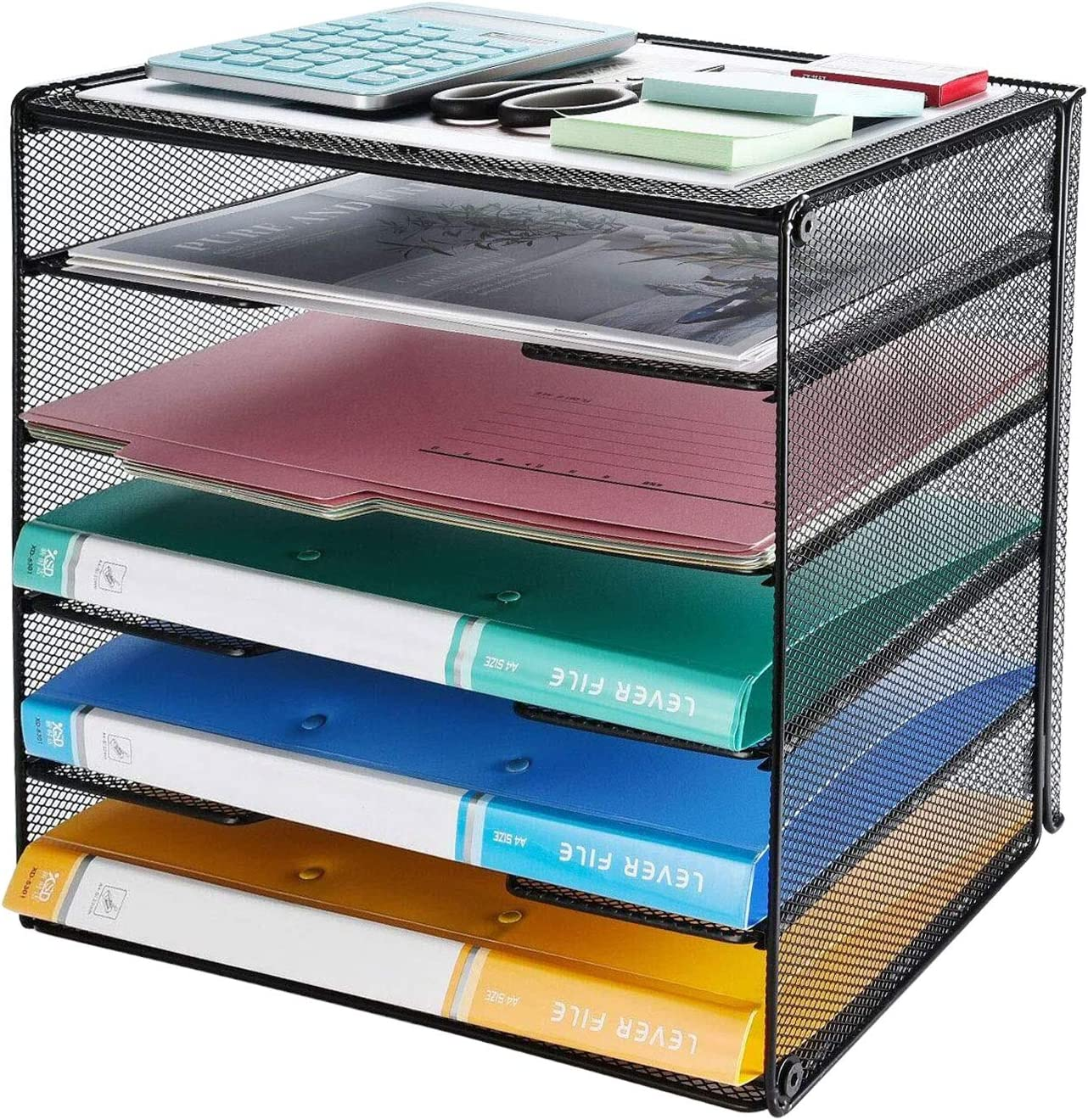 Veesun Paper Letter Tray Organizer, Mesh Desk File Organizer with 5 Tier Shelf Sorter, Black