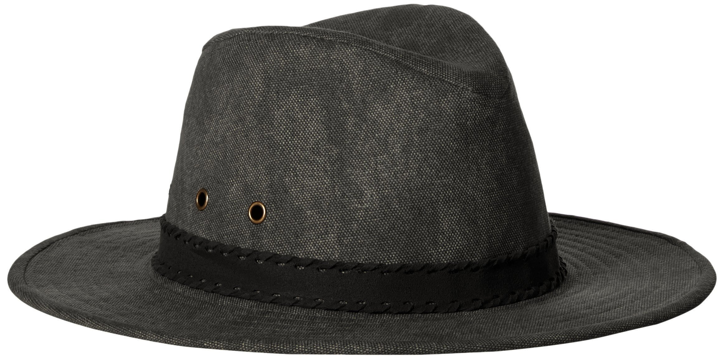 'ale by alessandra Women's Jaxson Adjustable Vintage Washed Canvas Hat with Suede Trim and UPF 50+, Charcoal/Black, Adjustable Head Size