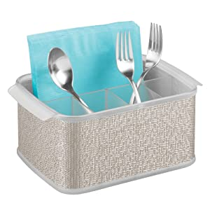 InterDesign Twillo Plastic Silverware Organizer Flatware Caddy for Kitchen Countertop Storage, Dining, Outdoor Patio, Picnic Tables, Metallico and Clear