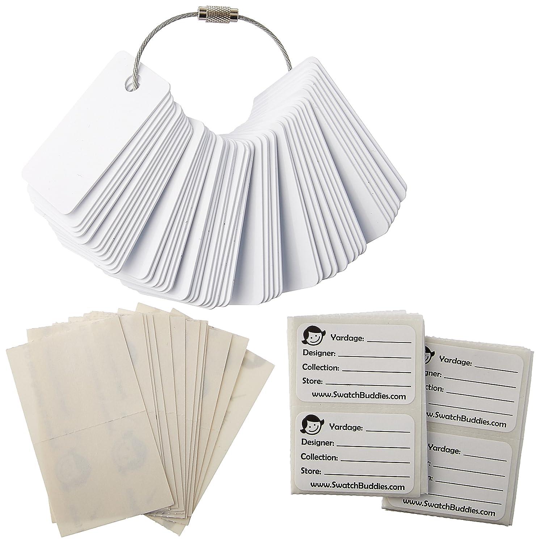 Swatch Buddies SB-4800 Fabric Fan, White, 48-Pack
