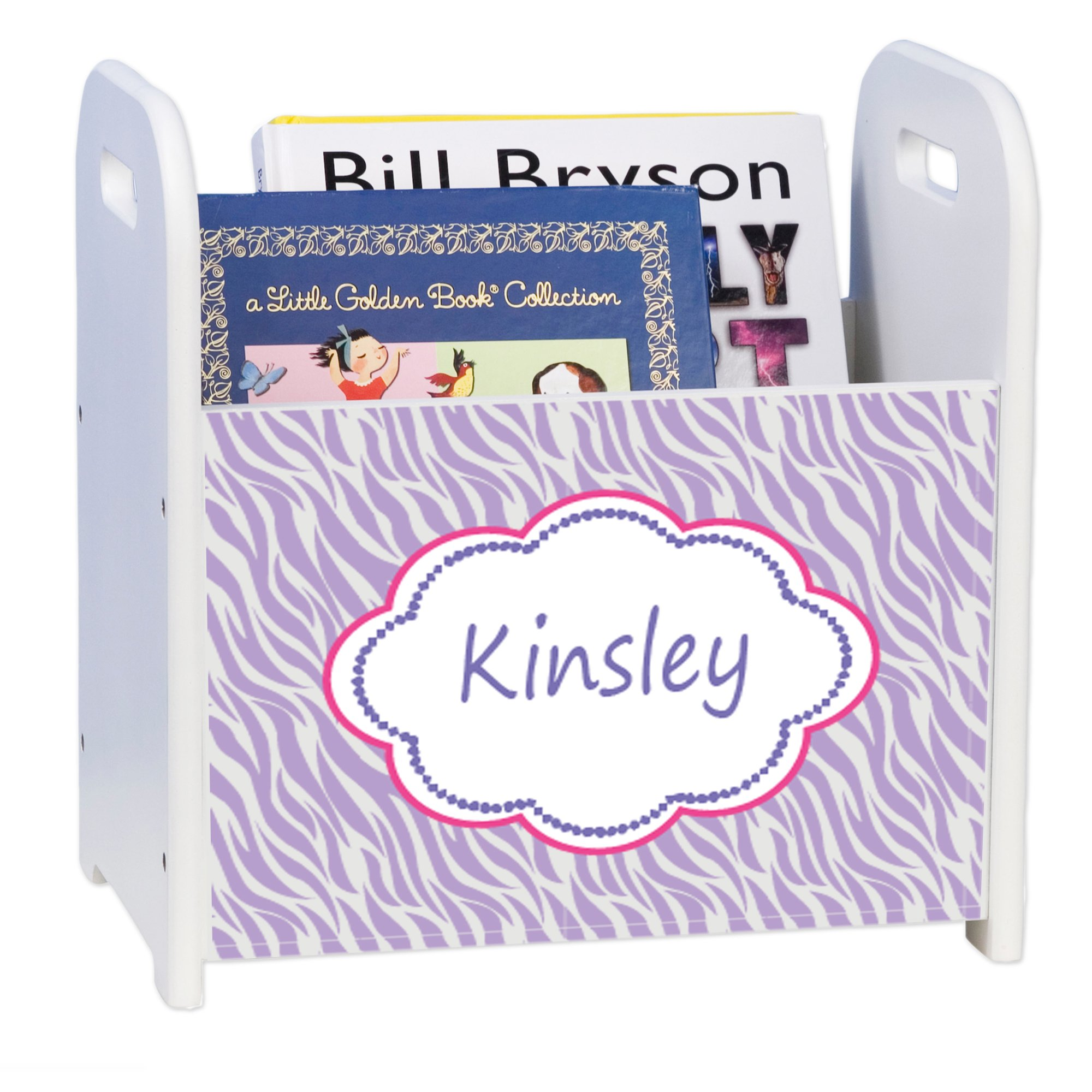 Personalized Lavender Zebra White Book Caddy and Rack