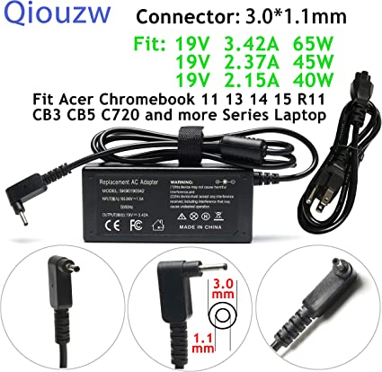 New AC Adapter Charger F Acer Chromebook R11 C720 C720P C730E C738T C740 CB3 CB5