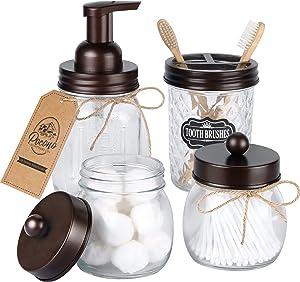 Premium Mason Jar Bathroom Accessories Set, FOAMING Soap Dispenser, 2 Apothecary Jars (Qtip Holder), Toothbrush Holder, Rustic Bathroom Accessories Farmhouse Decor Vanity Organizer, Bronze