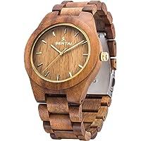 Orologio da uomo in legno Sentai orologio da polso in legno naturale orologi al quarzo vintage fatti a mano orologio elegante in legno con grande faccia chiara e numeri chiari indice luminoso