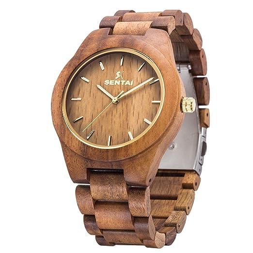 Reloj de madera para hombres Sentai Reloj de madera natural de acacia Relojes de cuarzo vintage