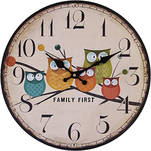 Eruner Cute Wall Clock, 12 Modern Family Animated Cartoon Decoration 12-Inch Wood Clock Painted Owl Lovely Style Silent Quartz Movement 12888 for Child Kid s Room Decal Owl, M1