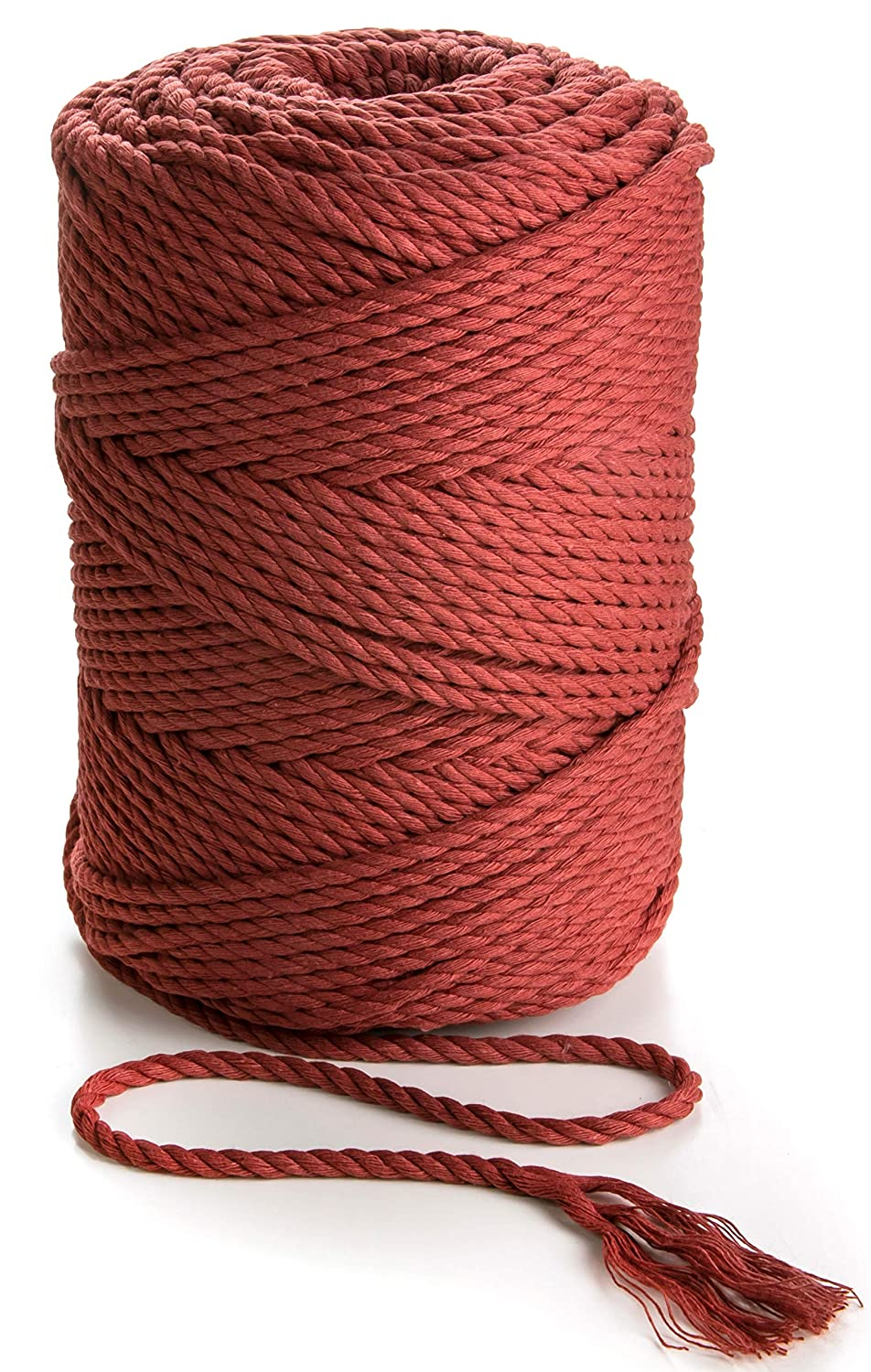 Macrame Cord 4mm Cotton Rope Cinnamon Red 492 feet Soft Cotton Macrame Cord Crafts Cord Bordo Bordo Cinnamon Red