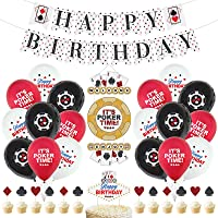 33PCS Casino Theme Party Decorations, Poker Birthday Party Decorations with Casino Happy Birthday Banner, Welcome Door…