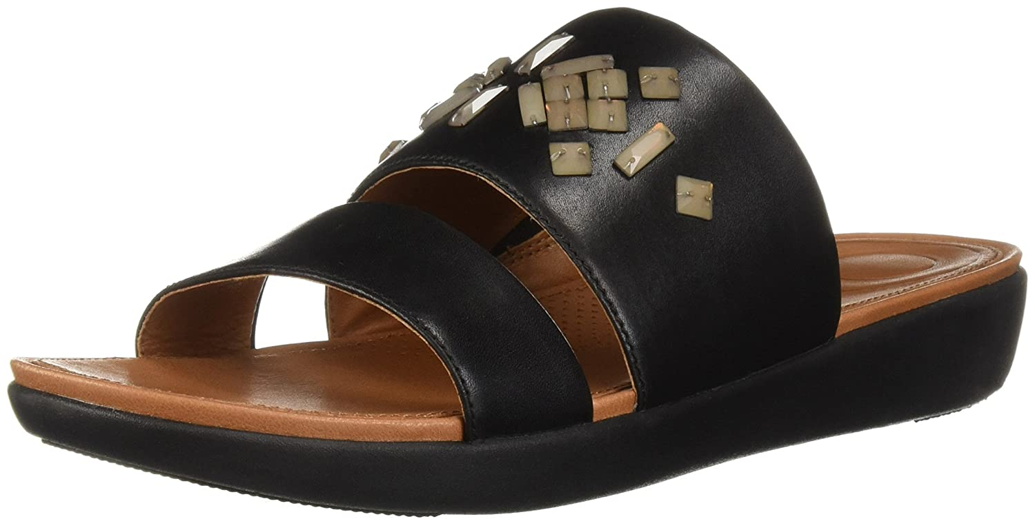 FitFlop Women's Delta 9 Leather Crystal Slide Sandal B077511KSC 9 Delta M US|Black c00c4c