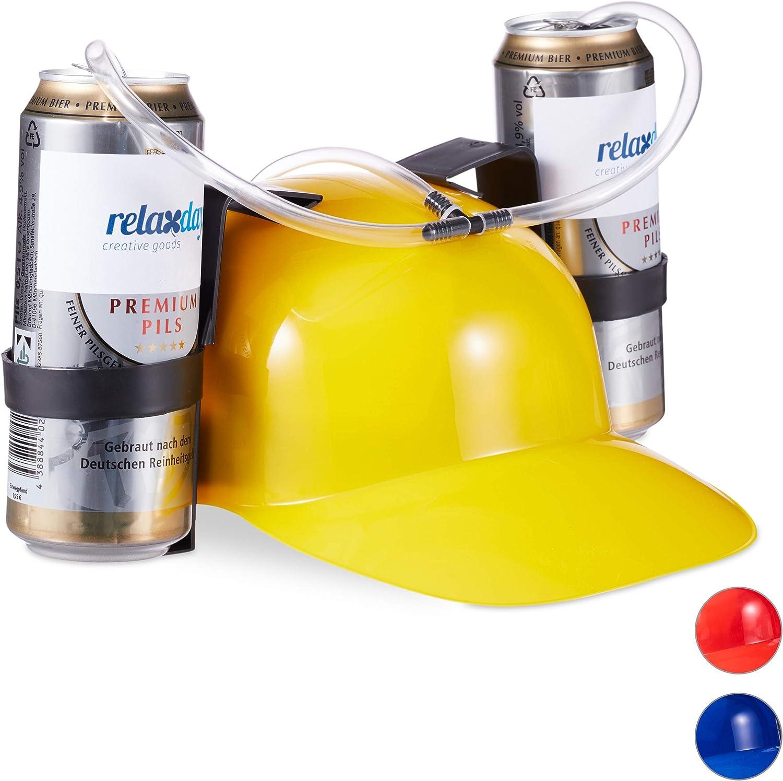 relaxdays Gorra Cerveza para Dos Latas, PVC, Varios Colores, 13 x 32 x 28 cm