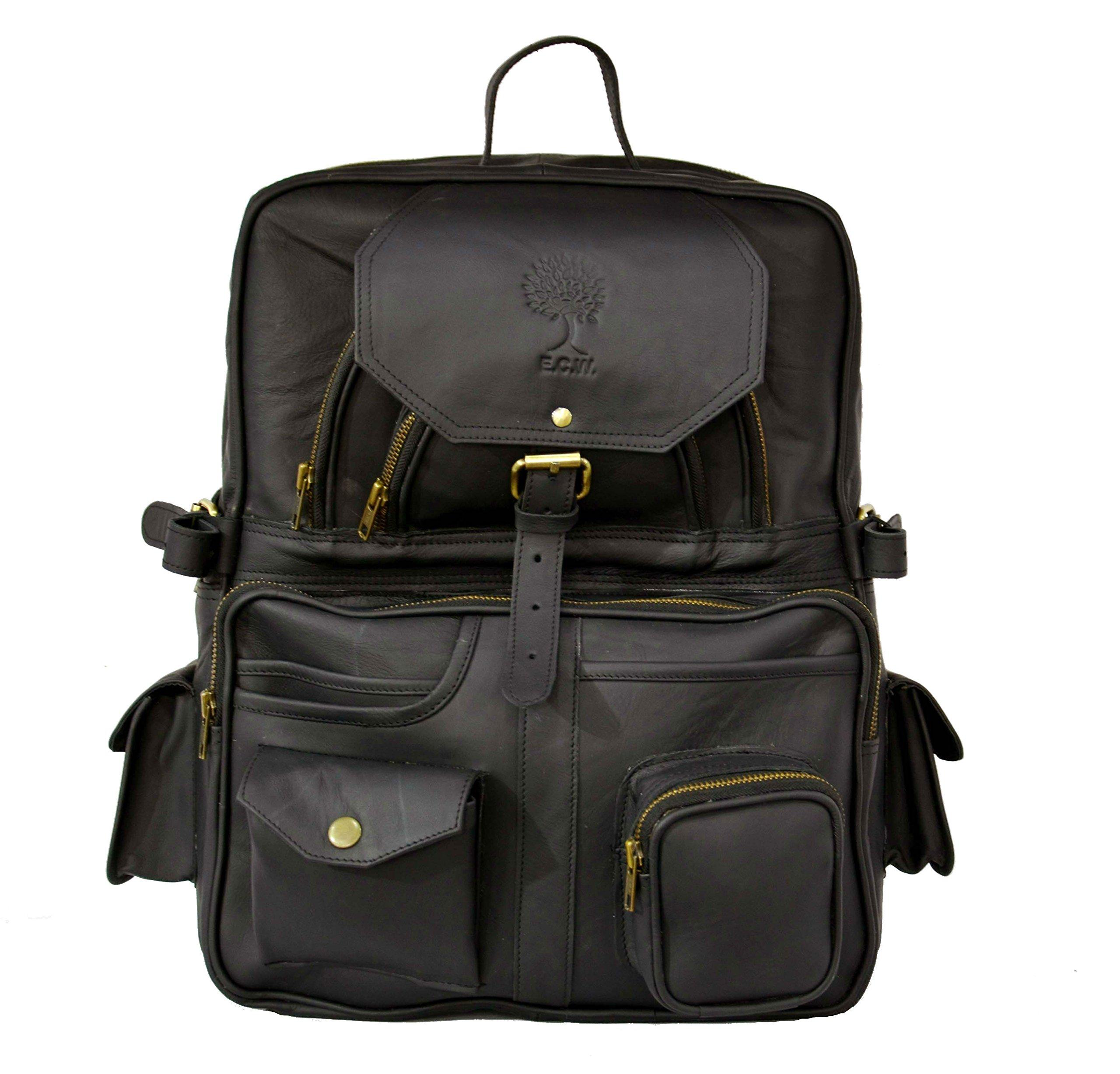 16 inch Leather Retro Rucksack Vintage Backpack College Bag, School Picnic Bag Travel (BLACK)