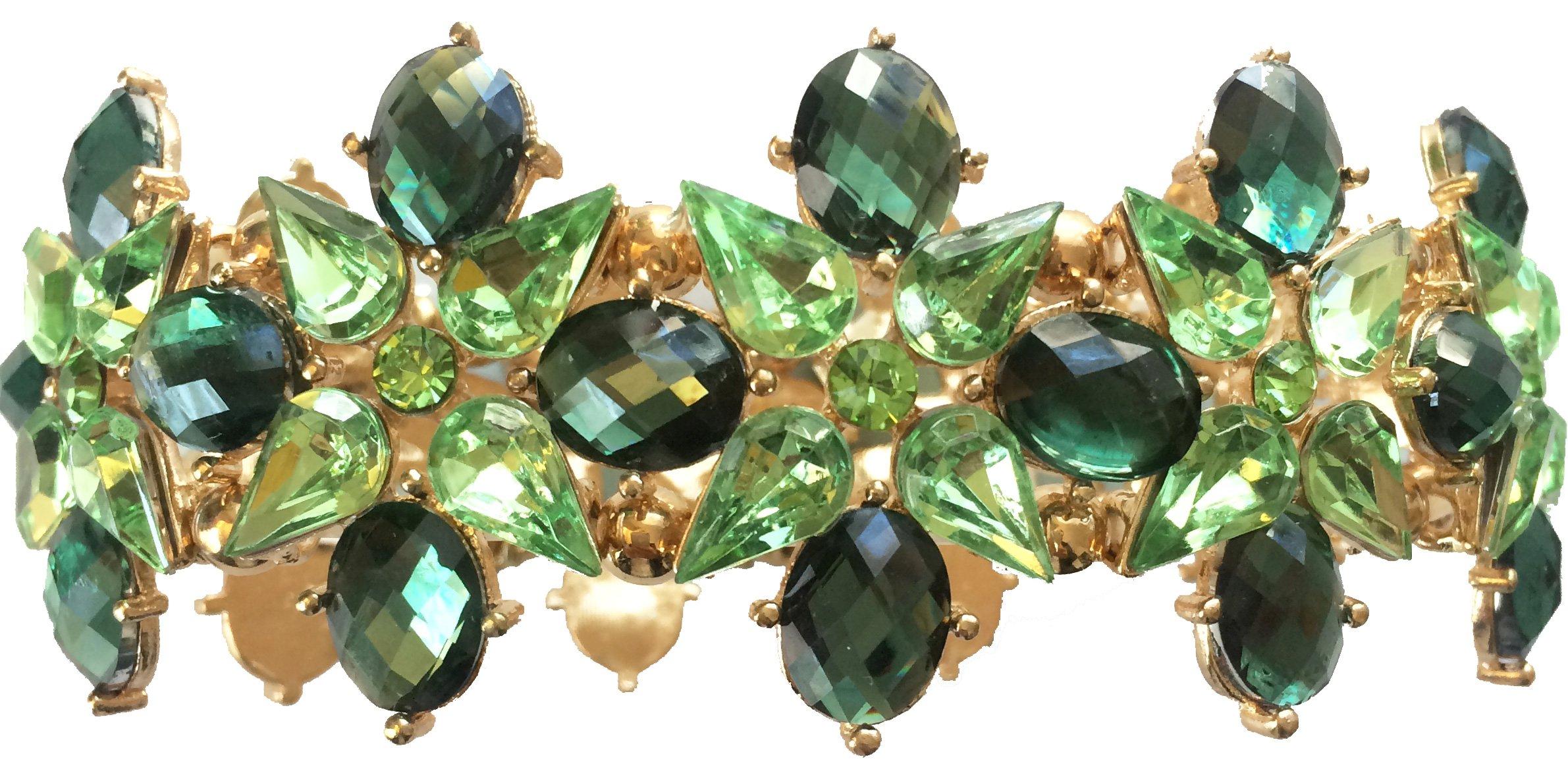 Vintage Antique Retro Deco Style Green Emerald Peridot Rhinestone Cluster Wedding Bridal Formal Prom Statement Cuff Bracelet