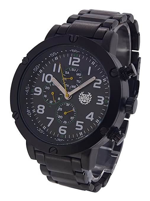 Amazon.com: ShoppeWatch Mens Watch Black Bracelet Large Face Multifunction Day Date Reloj AQ202792G: Watches