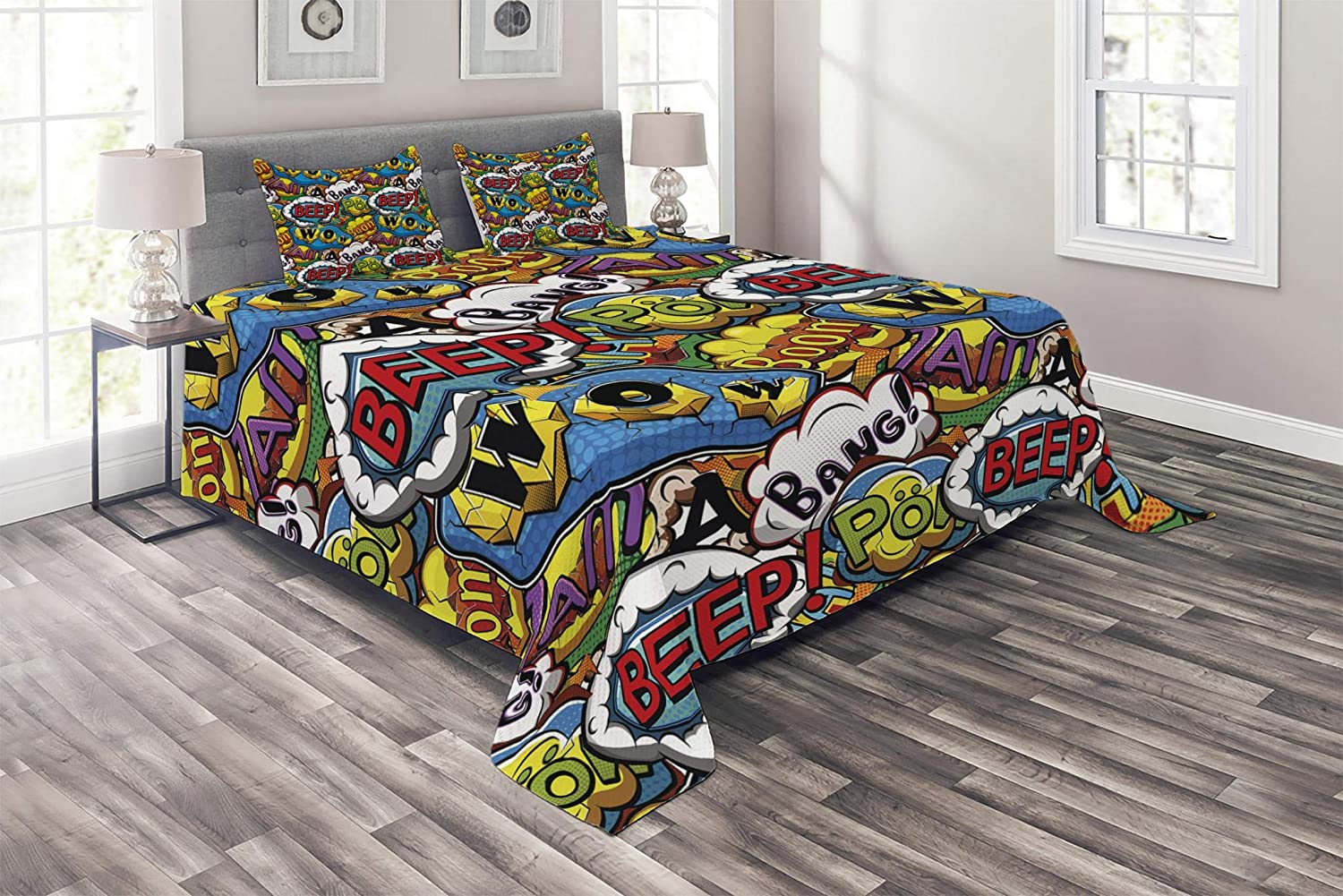 Lunarable Superhero Coverlet Set Queen Size, Comics Speech Bubbles Beep Wow with Vivid Old Effects Boys Supernatural Print, 3 Piece Decorative Quilted Bedspread Set with 2 Pillow Shams, Multicolor