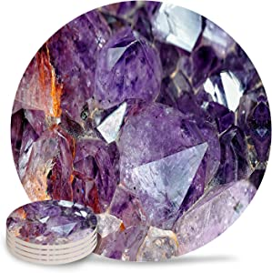 Drink Coasters Absorbent Natural Ceramic Stone Bar Coasters Set of 4 - Purple Diamonds Amethyst Cup Mat with Cork Backing, Housewarming Gifts for Home Kitchen Decorations