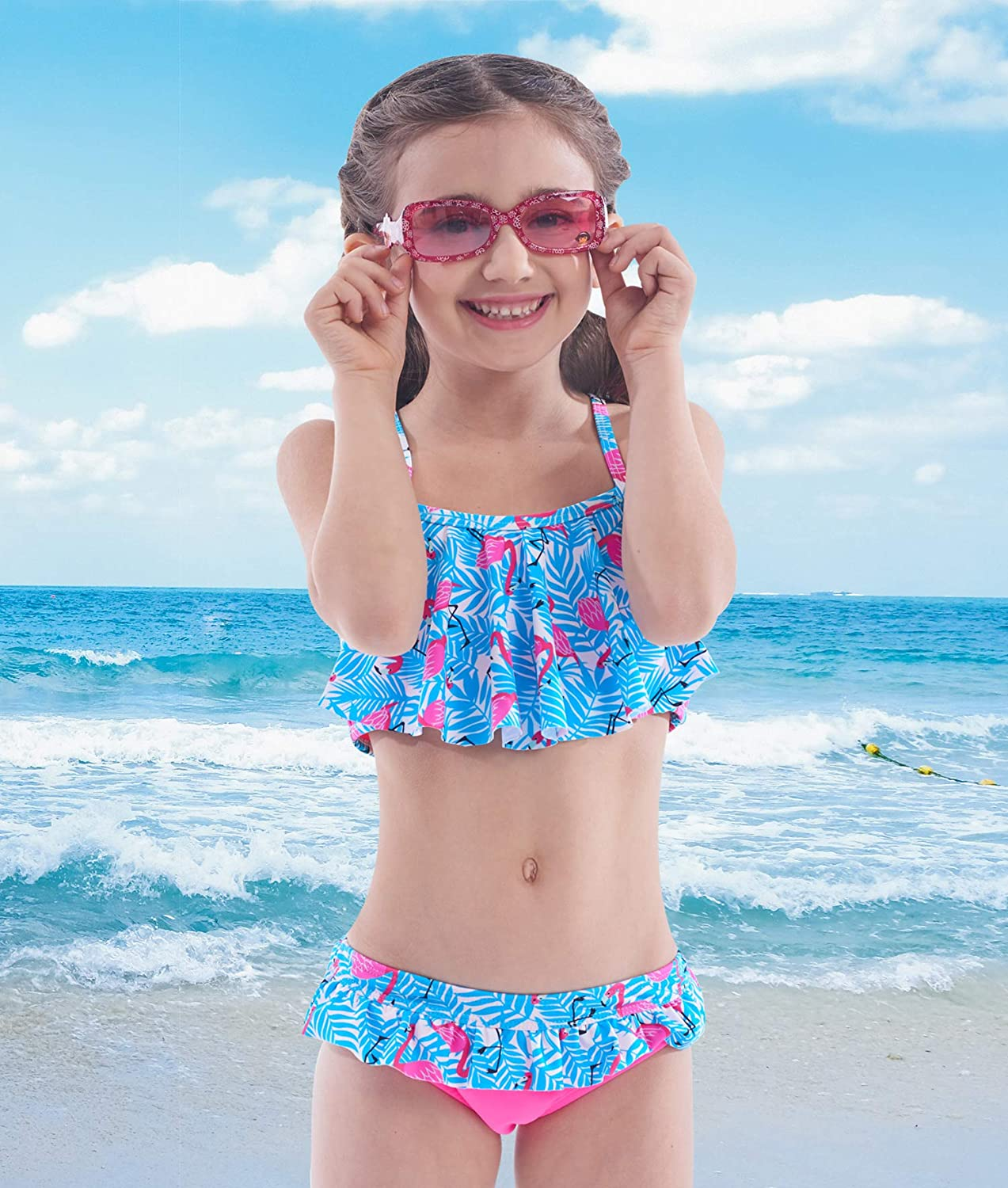 IKALI Girls Two-Piece Bikini Flouncing Hawaii Floral Printing Swimsuit Beach Bathing Suit for Vacation